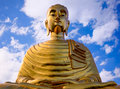 Buddha this temple is located in prachuapkhirikhan thailand time was people passing will come begging to a priest to bless the Royalty Free Stock Photography