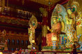 Buddha in tooth relic temple in china town singapore interior Stock Image