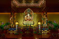 Buddha in tooth relic temple in china town singapore interior Royalty Free Stock Image