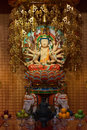 Buddha in tooth relic temple in china town singapore interior Royalty Free Stock Photos