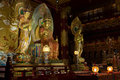 Buddha in tooth relic temple interior in china town singapore Stock Photography