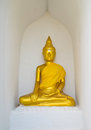 Buddha on the wall statue in wat phra borommathat chaiya province suratthani people worshiped in thailand Royalty Free Stock Photo
