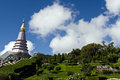 Buddha's relic on inthanon mountain with garden view in the front and cloudy sky buddha temple national park chiangmai city Stock Photo