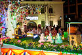 Buddhish devotees and floats at wesak procession Royalty Free Stock Image