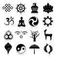 Buddhism icons set black yoga oriental traditional symbols isolated vector illustration Royalty Free Stock Photos