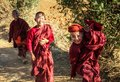 Young bhuddist monks are happy playing, Shan State, Myanmar Royalty Free Stock Photo