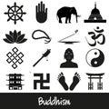 Buddhism religions symbols vector set of icons eps Royalty Free Stock Photo