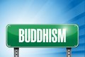 Buddhism religious road sign banner illustration design over a peaceful sky Royalty Free Stock Photography