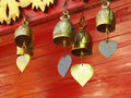 Buddhist bells inside the temple Stock Images