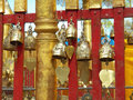 Buddhist bells inside the temple Stock Photography