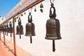 Buddhist bells in Wat Saket, Bangkok, Thailand. Royalty Free Stock Photo