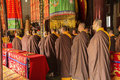 Buddhist ceremony monks are doing religious in a historic chinese temple longchang temple Royalty Free Stock Photography