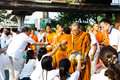 Buddhist charity and merits. Royalty Free Stock Images