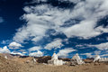Buddhist chortens ladakh whitewashed tibetan stupas jammu and kashmir india Stock Photo