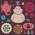 Buddhist design elements collection vector set of Royalty Free Stock Image