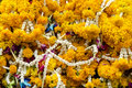 Buddhist flower offering in thailand temple Royalty Free Stock Image