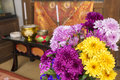 Buddhist flowers chrysanthemum in front of the altar Royalty Free Stock Photos