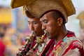 Buddhist lamas play music during Tsam mystery Royalty Free Stock Photo