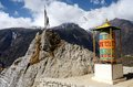 Buddhist mani stones and prayer wheels nepal with sacred mantras near namche bazaar capital of sherpas eastern everest region Royalty Free Stock Photography