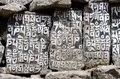 Buddhist mani stones with sacred mantras in tengboche nepal tibetan language everst region Stock Images