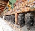 Buddhist many prayer wheels, buddhism in Nepal Royalty Free Stock Photo