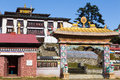 Buddhist monastery gate morning, Tengboche village, Nepal. Royalty Free Stock Photo