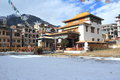 Buddhist monastery at hill station manali side view of a Royalty Free Stock Photo