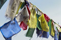 Buddhist monastery, Tibetan prayer flags Stock Photos