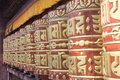 Buddhist monastry nepal the monkey temple with prayer wheels Royalty Free Stock Photo