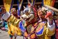 Buddhist monk dance at Paro Bhutan Festival Royalty Free Stock Photo