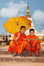 Buddhist monk in Laos Stock Photo