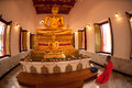 Buddhist monk praying in Thai church. Royalty Free Stock Photos