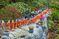 Buddhist monk statues Royalty Free Stock Photo