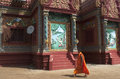 Buddhist monk wat hanchey cambodia kompong cham walking in the temple Stock Photography