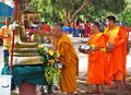 Buddhist monks bathe the buddha songkran festival ban na san surat thani province thailand april led by a senior monk at wat khuan Royalty Free Stock Photos
