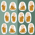 Buddhist monks cartoon in many actions Stock Image