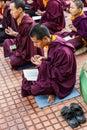 Buddhist monks kushalnagar india june th reading scripture in the monastery at kushalnagar india june th Royalty Free Stock Image