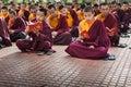 Buddhist monks kushalnagar india june th reading scripture in the monastery at kushalnagar india june th Royalty Free Stock Photography