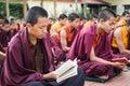 Buddhist monks kushalnagar india june th reading scripture in the monastery at kushalnagar india june th Royalty Free Stock Photo
