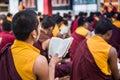 Buddhist monks kushalnagar india june th reading scripture in the monastery at kushalnagar india june th Stock Photo