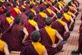 Buddhist monks kushalnagar india june th sitting in meditation in a monastery in kushalnagar india june th Royalty Free Stock Photos