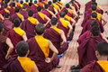 Buddhist monks kushalnagar india june th sitting in meditation in a monastery in kushalnagar india june th Royalty Free Stock Image