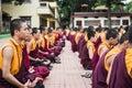 Buddhist monks kushalnagar india june th sitting in meditation in a monastery in kushalnagar india june th Stock Photos