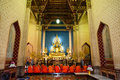 Buddhist Monks at Marble Temple Royalty Free Stock Images