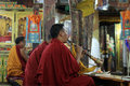 Buddhist monks in monastery Royalty Free Stock Images