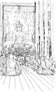 Buddhist monks praying at temple in Chiangmai, Thailand, sketch
