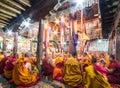 Buddhist monks praying in thiksay monastery leh india july near leh ladakh the indian himalayas Stock Photography