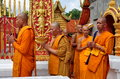 Chiang Mai, Thailand: Monks at Wat Doi Suthep Royalty Free Stock Photo