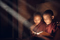 Buddhist novice monks reading in monastery southeast asian monk book inside beautiful natural light shining thru Royalty Free Stock Images