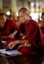 Buddhist novice in yangon burmese studying pali at a aschool myanmar Stock Image